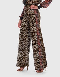 Leopard Print and Floral Contrast Wide Leg Trousers