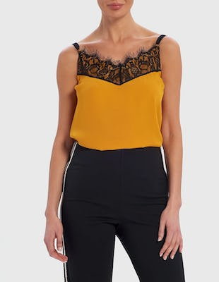 Yellow and Black Eyelash Lace Camisole Top