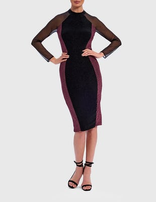 Black and Pink Glitter Contrast Mesh Bodycon Dress