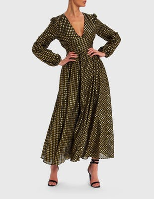 Gold and Black Foil Print Long Sleeve Maxi Dress