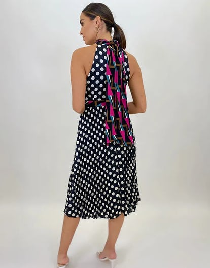 Polka Dot Halter-Neck Dress with Geometric Print Detail