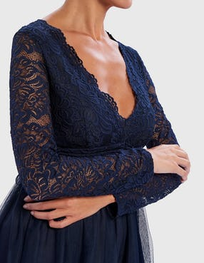 Navy Blue Lace Skater Dress