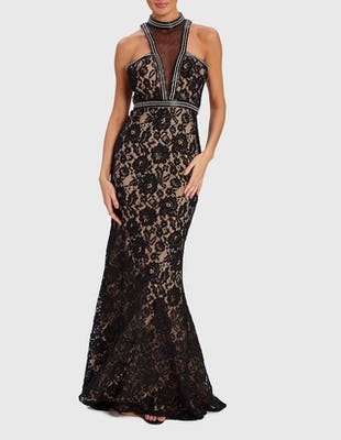 SHEENA - Black Maxi Dress with Sequins and Lace Detail