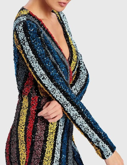ILSA - Multi-Coloured Striped Sequined Maxi Dress